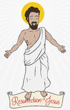 Jesus Christ`s Resurrection Design with Scroll for Easter Celebration, Vector Illustration. Poster with Jesus Christ figure that represents the concept of Stock Images