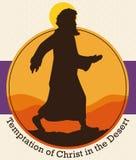 Jesus Christ`s Silhouette across the Desert to Commemorate Lent Season, Vector Illustration Stock Image