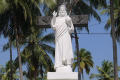 Jesus Christ's statue. In the yard of Jesus's Mother church in the state of Goa Stock Photo