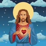 Jesus christ sacred heart catholic night background Royalty Free Stock Photo