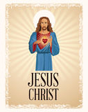Jesus christ sacred heart christianity Royalty Free Stock Images