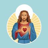 Jesus christ sacred heart label Royalty Free Stock Images