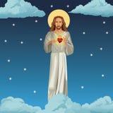 Jesus christ sacred heart night background Stock Photos