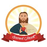 Jesus christ sacred heart religious. Vector illustration eps 10 Royalty Free Stock Photography