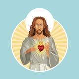 Jesus christ sacred heart stamp Royalty Free Stock Photos