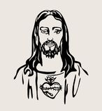 Jesus Christ with the Sacred Heart, vector design Royalty Free Stock Photo