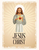 Jesus christ sacred heart vintage Stock Photography