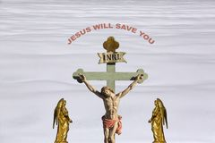 Jesus Christ - Salvation. Salvation is being saved or protected from harm or being saved or delivered from a dire situation. In christian religion, salvation is Royalty Free Stock Photo