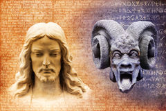 Jesus Christ and Satan the Devil. Jesus and the devil against a background of gospel texts and mysterious alchemy symbols stock image