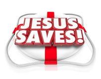 Jesus Christ Saves Religion Faith-Geistigkeits-Schwimmweste lizenzfreie abbildung