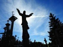 Jesus and cross in Cross hill near Siauliai town, Lithuania Stock Image