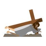 Jesus christ second fall via crucis shadow Royalty Free Stock Photos