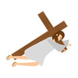 Jesus christ second fall via crucis station. Illustration eps 10 Royalty Free Stock Images