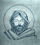 Jesus Christ Serene Face illustrazione vettoriale