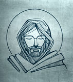 Jesus Christ Serene Face. Hand drawn illustration or drawing of Jesus Christ Serene Face Royalty Free Stock Image