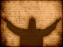 Jesus christ silhouette manuscript background. Illustration Royalty Free Stock Photos