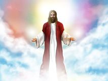 Jesus Christ in the sky. Among the white clouds Royalty Free Stock Photo