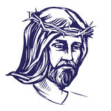 Jesus Christ, the Son of God in a crown of thorns on his head, a symbol of Christianity hand drawn vector illustration Royalty Free Stock Images