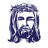 Jesus Christ, the Son of God in a crown of thorns on his head, a symbol of Christianity hand drawn vector illustration Royalty Free Stock Image