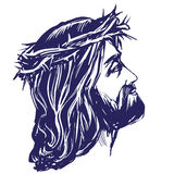 Jesus Christ, the Son of God in a crown of thorns on his head, a symbol of Christianity hand drawn vector illustration Stock Images