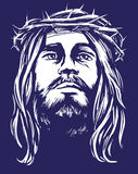 Jesus Christ, the Son of God in a crown of thorns on his head, a symbol of Christianity hand drawn vector illustration Stock Photography