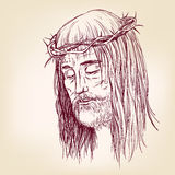 Jesus Christ, the Son of God in a crown of thorns on his headhand drawn vector llustration Royalty Free Stock Images