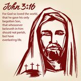 Jesus Christ, the Son of God, John 3:16 the quote calligraphic text symbol of Christianity hand drawn vector. Illustration sketch Stock Image