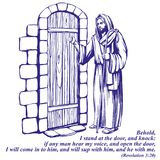 Jesus Christ, Son of God knocking at the door, symbol of Christianity hand drawn vector illustration sketch. Royalty Free Stock Images
