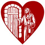 Jesus Christ, Son of God knocking at the door, symbol   Royalty Free Stock Images
