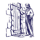 Jesus Christ, Son of God knocking at the door, symbol of Christianity hand drawn vector illustration Stock Photography