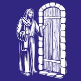 Jesus Christ, Son of God knocking at the door, symbol   Stock Photos