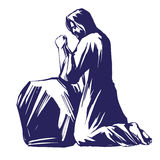 Jesus Christ, the Son of God praying in the garden of Gethsemane, symbol of Christianity vector illustration sketch Stock Image