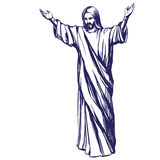 Jesus Christ, the Son of God , symbol of Christianity hand drawn vector illustration Royalty Free Stock Photos