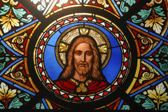 Jesus Christ. Stained glass window royalty free stock images