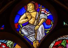 Jesus Christ Stained Glass Window De Krijtberg Amsterdam Países Bajos Fotografía de archivo libre de regalías