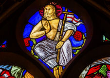 Jesus Christ Stained Glass Window De Krijtberg Amsterdam Pays-Bas Photographie stock libre de droits