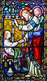 Jesus Christ Healing Stained Glass Window Stock Image