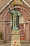 Jesus Christ Statue In Front Of A Church Called Schuilkerk De Hoop At Diemen The Netherlands.  Royalty Free Stock Photography