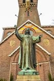 Jesus Christ Statue In Front Of A Church At Diemen The Netherlands.  Stock Photo