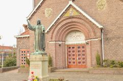 Jesus Christ Statue In Front Of A Church At Diemen The Netherlands.  Royalty Free Stock Photography