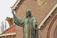 Jesus Christ Statue In Front Of A Church At Diemen The Netherlands.  Royalty Free Stock Image