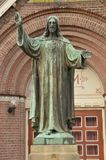 Jesus Christ Statue In Front Of A Church At Diemen The Netherlands.  Royalty Free Stock Photos
