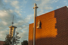 Jesus Christ statue in the front wall of a church. Easter Royalty Free Stock Photography