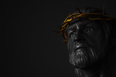 Jesus Christ Statue with Gold Crown of Thorns 3D Rendering Stock Images