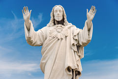 Jesus Christ Statue over blue sky Royalty Free Stock Images