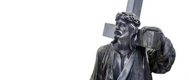 Jesus Christ statyantikvitet mot en isolerad vit bakgrund Fotografering för Bildbyråer
