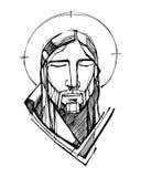 Jesus Christ stellen in der Betrachtung gegenüber stock abbildung
