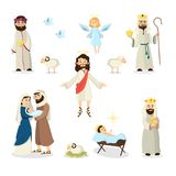 Jesus Christ story. Jesus Christ story illustration with Mary, Joseph and sheep Stock Image