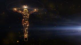 Jesus Christ sur la croix étant dessinée avec des lumières dans la version d'or de l'espace illustration libre de droits