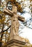 Jesus Christ sur la statue croisée Image stock